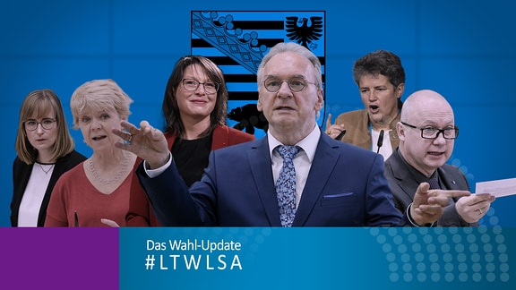 Die Spitzenkandidaten der sechs großen Parteien zur Landtagswahl, von links nach rechts: Eva von Angern (Die Linke), Cornelia Lüddemann (Grüne), Katja Pähle (SPD), Reiner Haseloff (CDU), Lydia Hüskens (FDP), Oliver Kirchner (AfD)