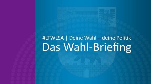 Grafik, die auf den Newsletter zur Landtagswahl in Sachsen-Anhalt hinweist: #LTWLSA | Deine Wahl – deine Politk | Das Wahl-Briefing