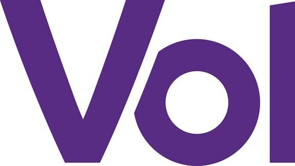 Ein Logo in lila mit Schriftzug Volt