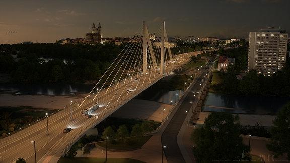 Entwurf einer beleuchteten Brücke bei Nacht