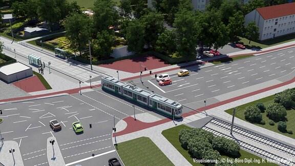 Visualisierung einer Straßenbahn, die eine Kreuzung quert