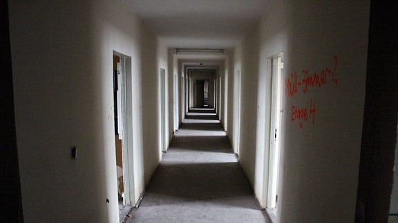 Ein langer, enger und dunkler Gang mit vielen Türen