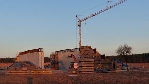 Brückenpfeiler auf Baustelle der A14