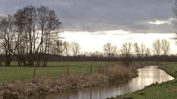 Wasser fließt durch eine Wiesenlandschaft