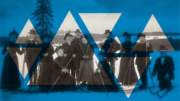 Eine Menschengruppe posiert mit Ski in winterlicher Landschaft.