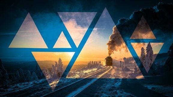 Die Brockenbahn bei untergehender Sonne im Winter.