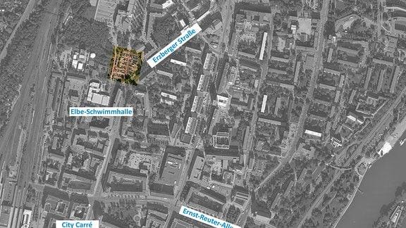 Eine Sateliten-Aufnahme der Innenstadt von Magdeburg