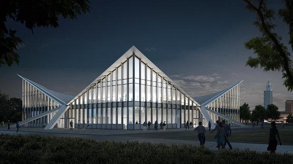 Architektenentwurf für die Hyparschale Magdeburg, Außenansicht.