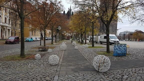 Männer auf Leitern montieren Bälle mit Lichtern an Bäumen am Domplatz in Magdeburg
