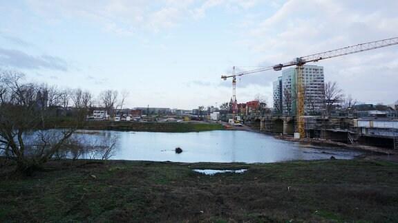 Baustelle an der Anna-Ebert-Brücke