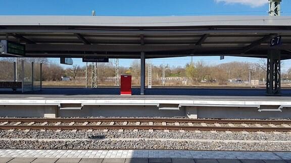 Blick auf ein Gleis am Hauptbahnhof Magdeburg