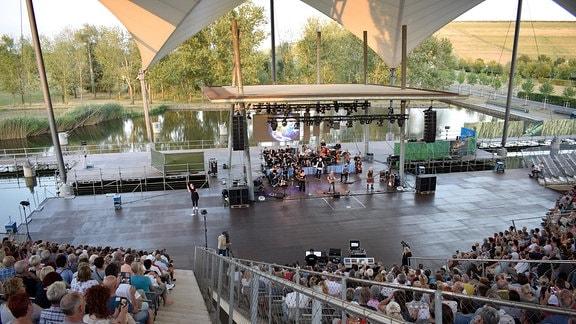 Musiker geben eine Konzert. Eine Frau steht neben der Bühne und übersetzt das Konzert in Gebärdensprache.