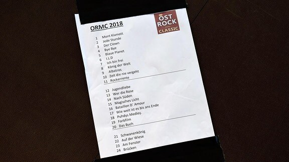 Ablaufplan  für das Konzert Ostrock meets Classik.