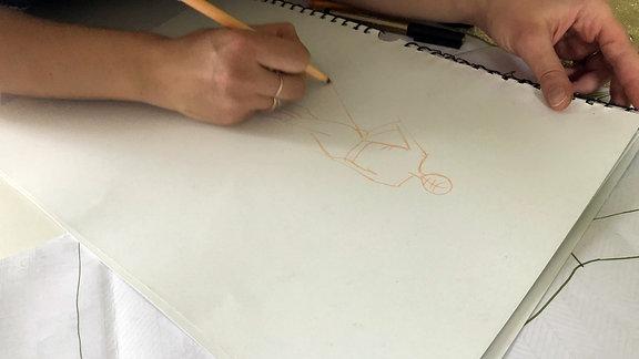 Skizze wird gezeichnet