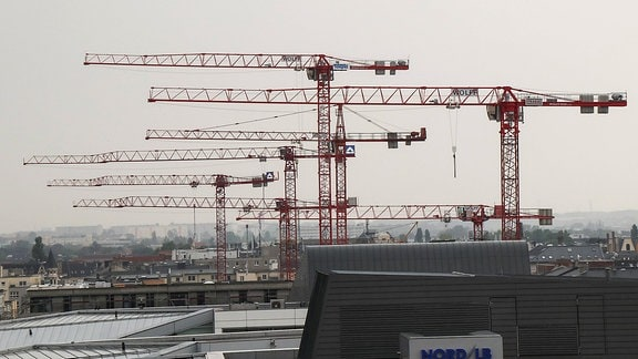 Baukräene über der Magdeburger Innenstadt