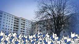 Eine Häuserfront mit Facebook-Daumen im Vordergrund.   MDR/Daniel George