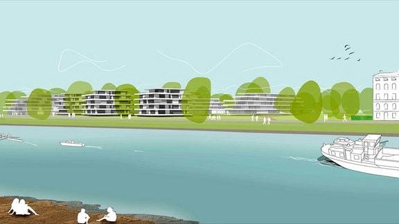 Grafische Darstellung Stadtplanung, Menschan am und auf dem Fluss, Häuser am Ufer.