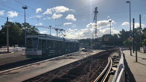 Straßenbahn Magdeburg Baustelle
