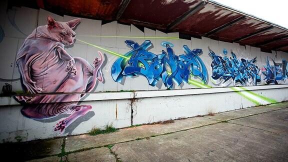 Graffiti mit rosafarbener Katze und blauer Schrift.