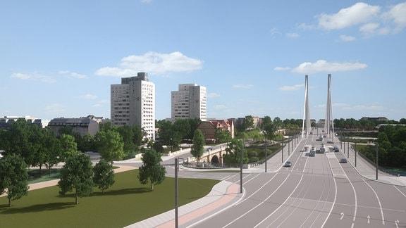 Künftige Verkehrsführung mit neuer Zufahrt zum Stadtpark