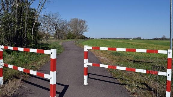Zwei rot-weiß gestrichene Zäune markieren die Einfahrt zu einem Radweg im Salzlandkreis