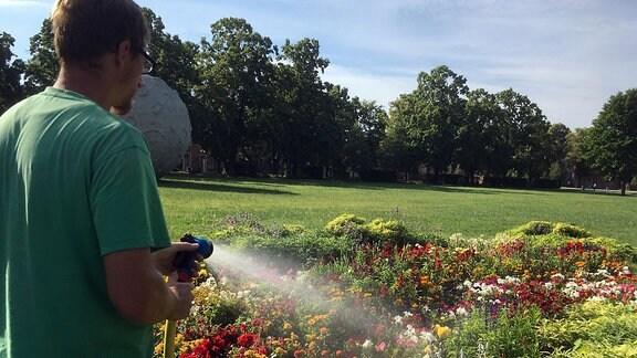 Ein Mann gießt Blumen