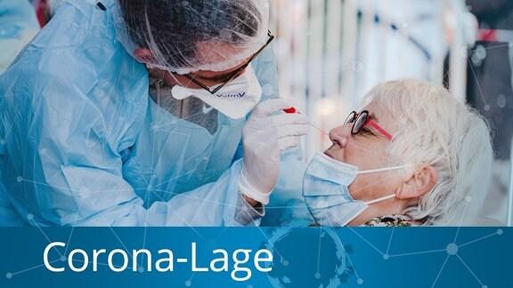 Coronatest werden an Menschen durchgeführt.