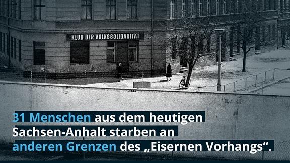Blick über die Berliner Mauer nach Ostberlin zum Klub der Voklssolidarität an der Bernauer Strasse, 1980.