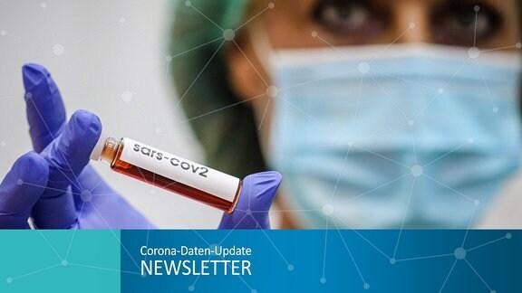 Collage für den Newsletter: Ein Laborantin analysiert eine Blutprobe.
