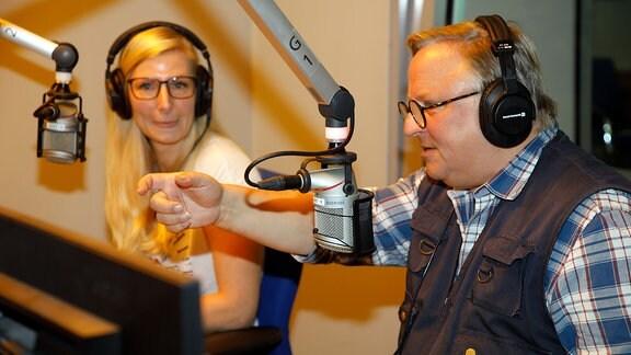 Schauspieler Axel Prahl und Programmmacherin Tina Herzberg
