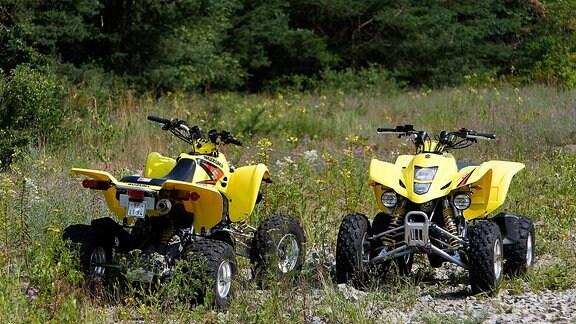 Zwei gelbe Quads stehen in einem Waldstück.
