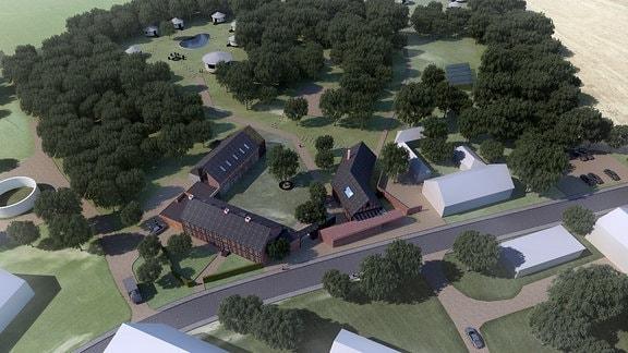 Eine Draufsicht vom noch nicht komplett fertiggestellten Seminarhof Vissum