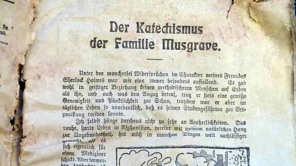 """Seite der Zeitschrift """"Der Weihnachtsbote"""" aus dem Jahr 1905 mit dem Titel """"Der Katechismus der Familie Musgrave"""""""