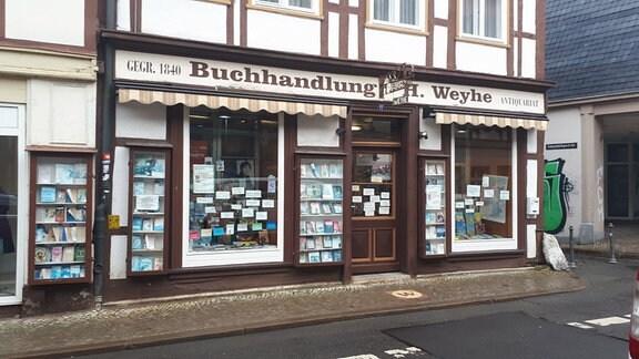 Blick auf die Buchhandlung Weyhe in Salzwedel
