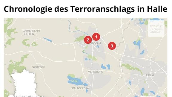 Karte mit der chronologischen Abfolge des Terroranschlags in Halle