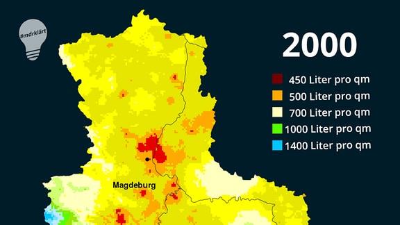 Videovorschaubild #MDRklärt: Die Niederschlagskarte für Sachsen-Anhalt aus dem Jahr 2000