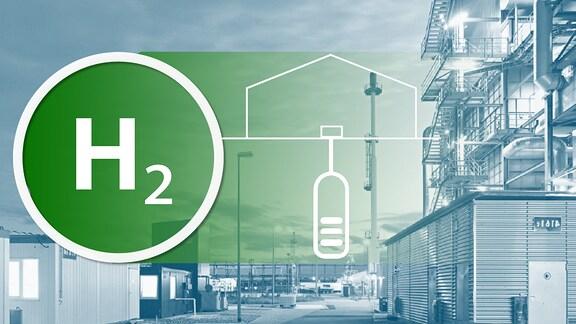 Eine Collage, die eine Wasserstofffabrik im Hintergrund zeigt und im Vordergrund das chemische Zeichen für Wasserstoff.