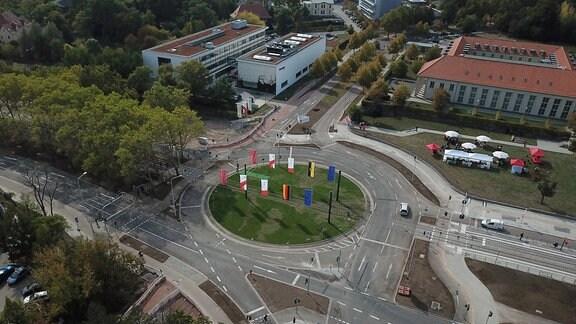 Blick auf den Weinberg Campus Halle