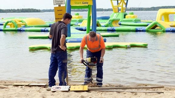 Sperrung eines Strandabschnittes am Senftenberger See aus Sicherheitsgründen