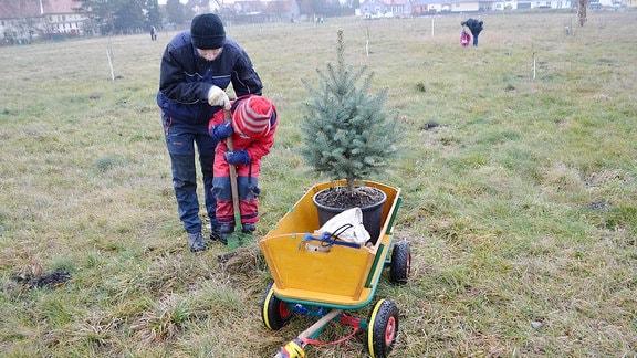 Papa und Kind graben ein Pflanzloch für ein Bäumchen.