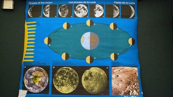 Schautafel der Mondphasen im Planetarium Hoyerswerda.