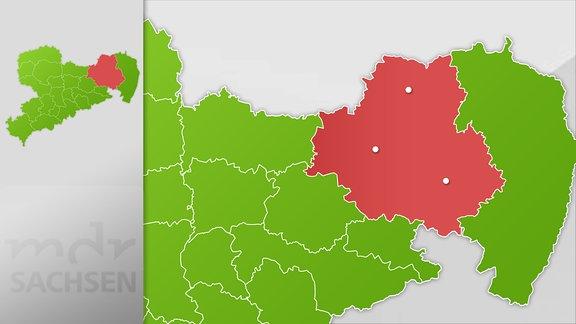 Karte der Region Bautzen, Hoyerswerda und Kamenz