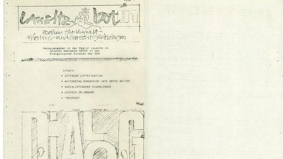 Umschlagseiten der Lausitzbotin, die von oppositionellen Zittauer Jugendlichen in der DDR gedruckt wurde