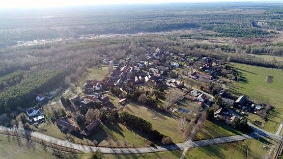 Luftbildaufnahme von Mühlrose