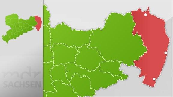 Karte der Region Görlitz, Weißwasser, Zittau