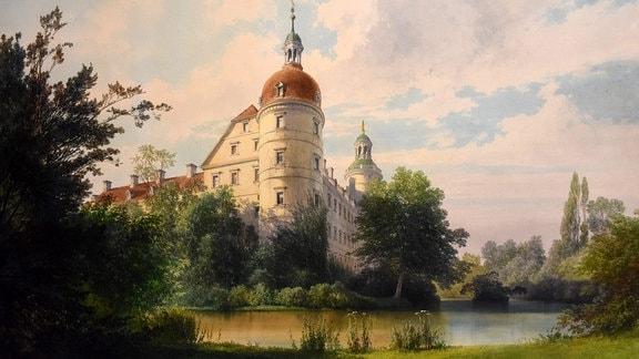 Blick über Schlossteich zum Schloss