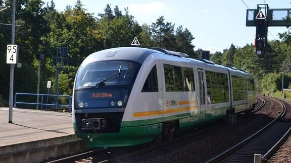 Ein Desiro-Triebwagen des Betreiber Trilex fährt in einen Bahnhof ein