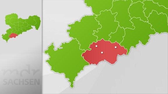 Karte Region Annaberg, Aue und Schwarzenberg