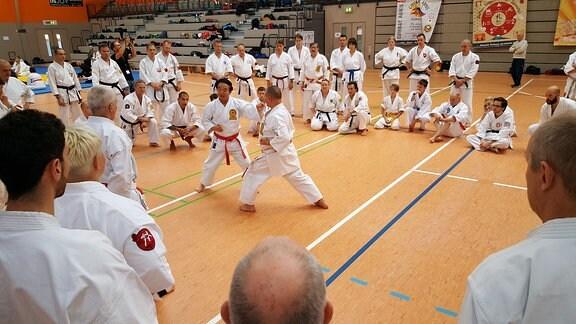 Ein japanischer Karate-Großmeister demonstriert eine Schlagtechnik