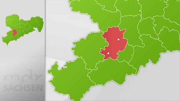 Karte Region Chemnitz und Stollberg